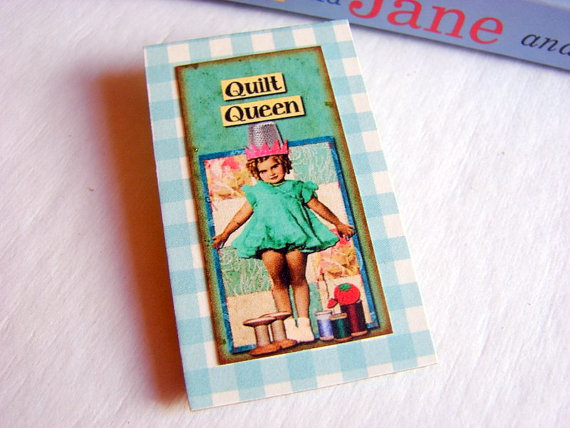 Vintage Girl with Needles and Thread - Quilt Queen - Paper and Chipboard Collage Decoupage Pin Brooch Badge - Retro