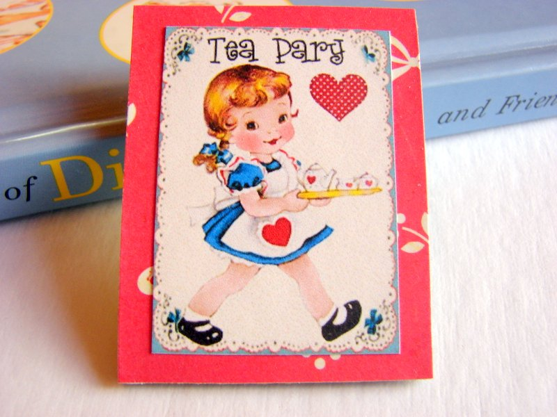 Girl With A Teapot and Cups - Tea Party - Paper and Chipboard Collage Decoupage Pin Brooch Badge - Retro Vintage