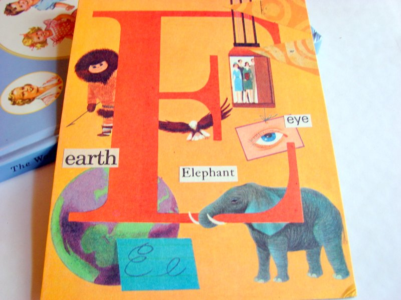 E Is For Earth Elevator Elephant Eye - Vintage Book Page - Alphabet ...