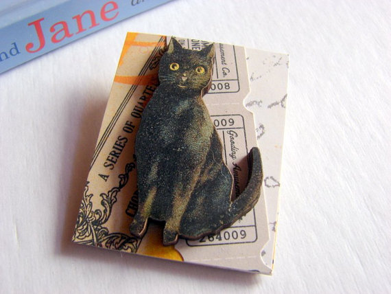 Black Cat Gray Ticket Halloween 3D Dimensional Pin Badge Brooch - Lg Chipboard Paper And Wood Decoupage Collage - Orange Blue Pink Polka Dots