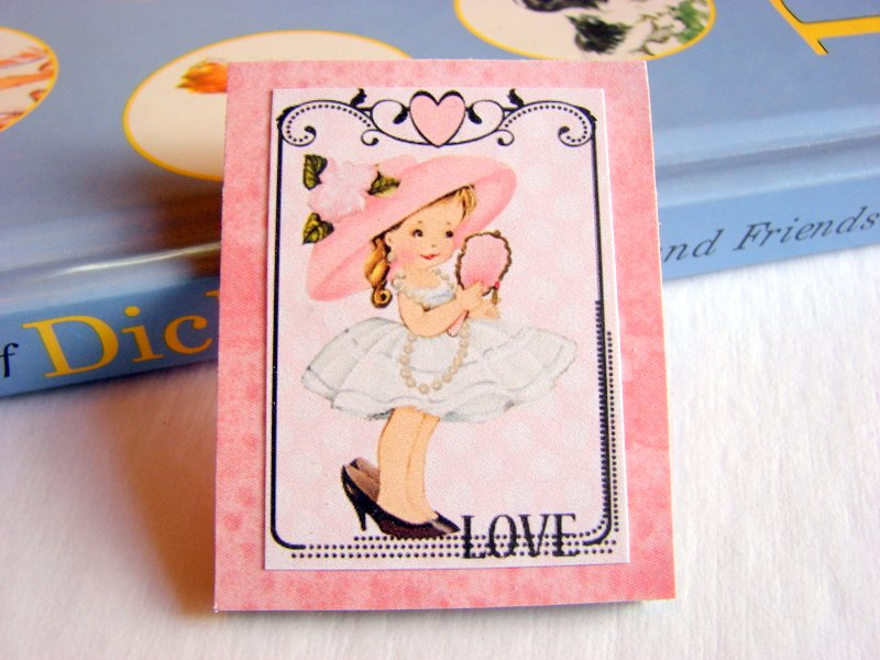 Little Girl Playing Dress Up In A Hat And High Heels - Love - Paper and Chipboard Collage Decoupage Pin Brooch Badge - Retro Vintage