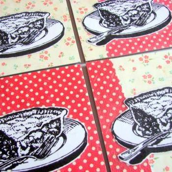 Pie - Coaster Set - Large Paper Chipboard Decoupage Collage Drink Bar Tea Beverage Coffee