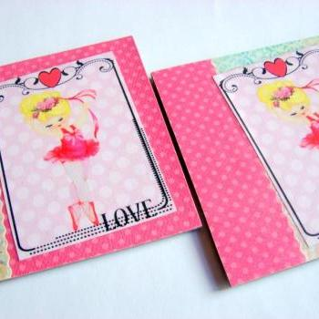 Dancing Ballerina In A Pink Tutu - Coaster Set - Large Paper Chipboard Decoupage Collage Drink Bar Tea Beverage Coffee